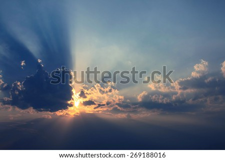 Beautiful Sunset In Clouds - stock photo