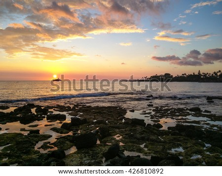 Beautiful sunset in Kailua-Kona on Hawaii Island.