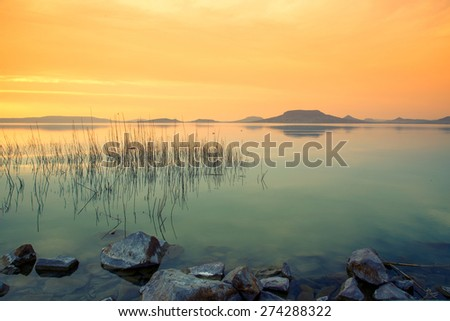 Beautiful sunset in lake Balaton-Hungary - stock photo