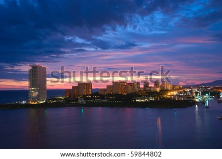 Beautiful sunset in Puerto Vallarta, Mexico - stock photo