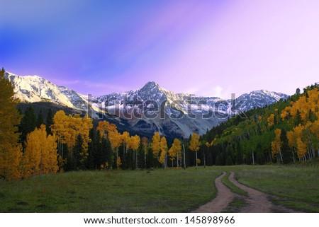 Beautiful Sunset in Telluride Colorado valley. - stock photo