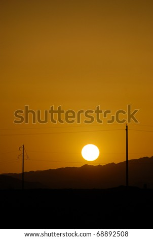 Beautiful sunset in the Gobi desert China - stock photo