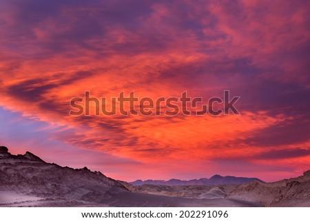 Beautiful sunset in the moon valley, Atacama desert, Chile - stock photo