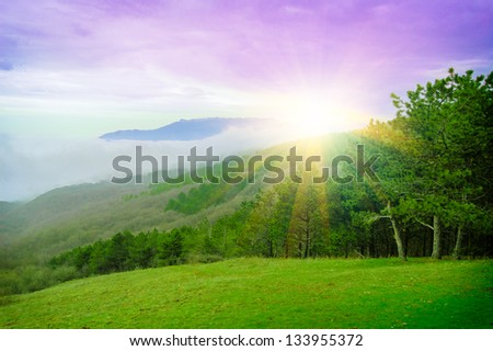 Beautiful Sunset in the Mountains with Colorful Sky