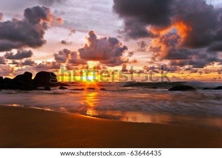 Beautiful sunset in the sea. Thailand - stock photo
