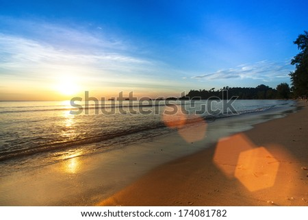 Beautiful sunset in the Siam Gulf  - stock photo