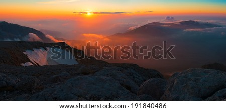 beautiful sunset in the summer  landscape of the mountain - stock photo