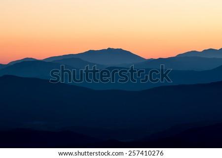 Beautiful sunset light in the spanish mountains (Serra d Entreperes) - stock photo