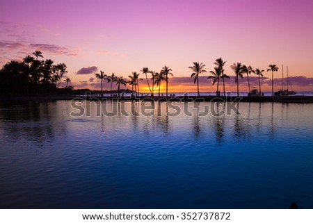 Beautiful sunset on Hawaiian beach, Big Island
