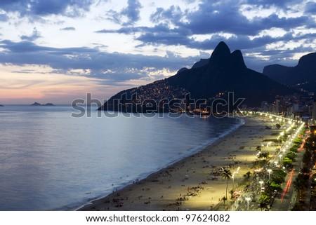 Beautiful sunset on Ipanema Beach in Rio de Jneiro,Brazil - stock photo