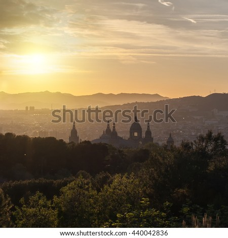 Beautiful sunset on National Museum in Barcelona - stock photo