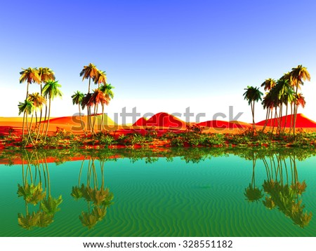 Beautiful sunset on Sahara  desert - stock photo