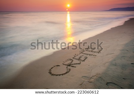 Beautiful Sunset On The Beach In Crete, Greece - stock photo