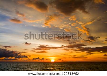 Beautiful sunset on the beach , Thailand. - stock photo