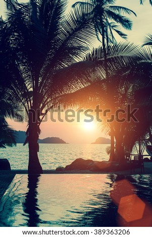 Beautiful sunset on the beach with palm trees. - stock photo