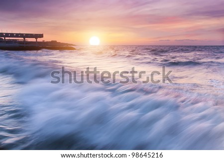 Beautiful sunset on the sea beach