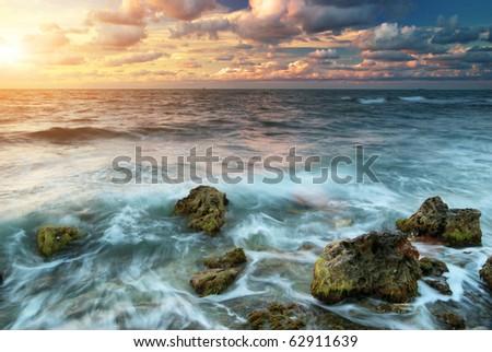 Beautiful sunset on the sea. Nature composition. - stock photo
