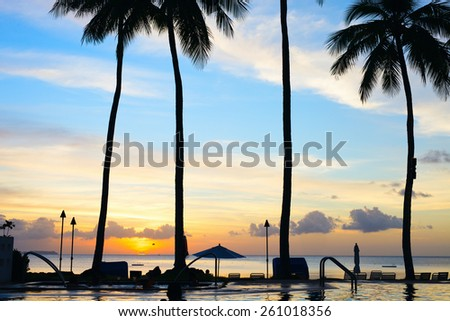Beautiful sunset on tropical beach with palm silhouettes - stock photo
