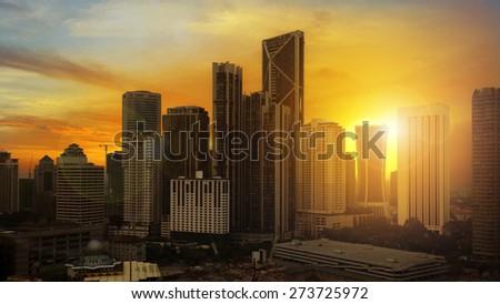 beautiful sunset over downtown Kuala Lumpur - stock photo