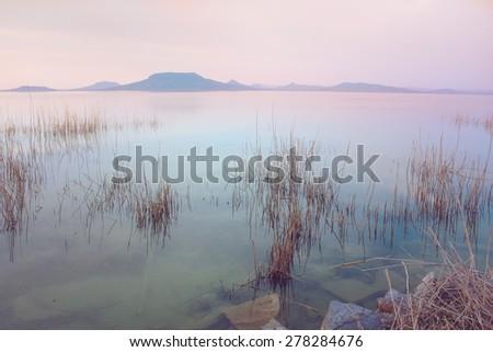 Beautiful sunset over lake Balaton in Hungary - stock photo
