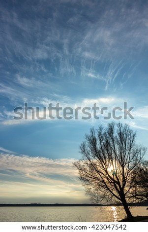 Beautiful sunset over lake with big tree silhouette on the edge and forest on the other opposite shore. Landscape with sunset over the river and rippling water. Sun shining through tree. Unusual sky. - stock photo