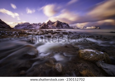 Beautiful sunset over Lofoten Islands, Norway, artic circle - stock photo