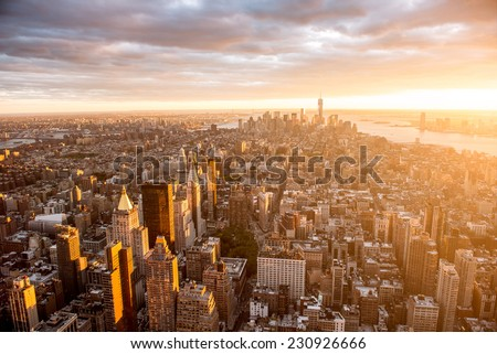 Beautiful sunset over Manhattan - stock photo