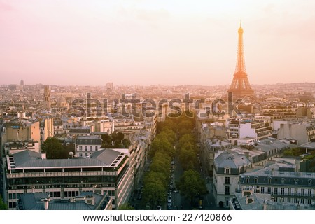 beautiful sunset over Paris, panoramic view from Arc de Triomphe - stock photo