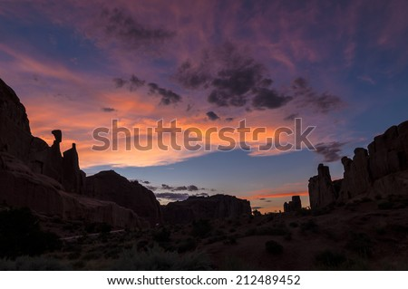 Beautiful sunset over Park Avenue  Arches National Park Utah  - stock photo