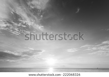 Beautiful sunset over sea of Thailand. Black and white photo. - stock photo