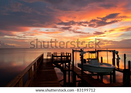 Beautiful sunset over Tampa Bay - stock photo