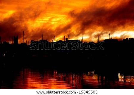 beautiful sunset over the harbor, Plymouth,UK - stock photo