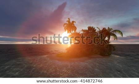 Beautiful sunset over the sea with a view at small island. 3D illustration - stock photo