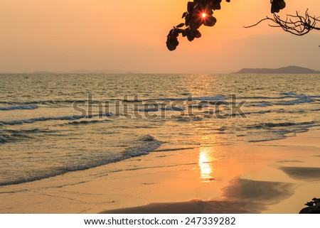 Beautiful sunset scene at sea - stock photo