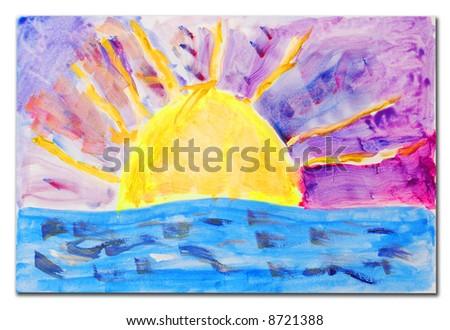 beautiful sunset scene painting, child artwork - stock photo