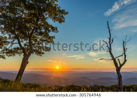 Beautiful sunset seen from the Browntown Valley Overlook in the Shenandoah National Park - stock photo