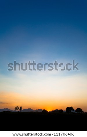 Beautiful Sunset, Silhouette. KAOYAI, THAILAND - stock photo