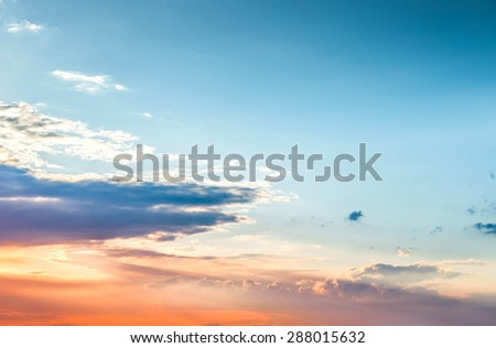 Beautiful sunset sky and clouds - stock photo