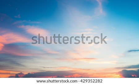 Beautiful sunset sky background or Landscape sunset. sunset with clouds - stock photo