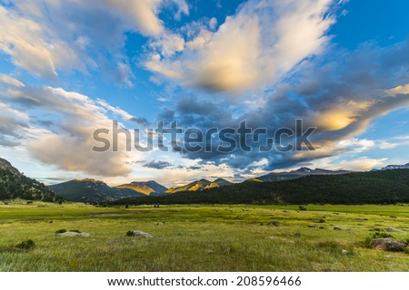 Beautiful sunset sky over Moraine Park- Rocky Mountain Colorado - stock photo