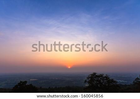 beautiful sunset sky over Nong Bua Lumphu city, Thailand - stock photo