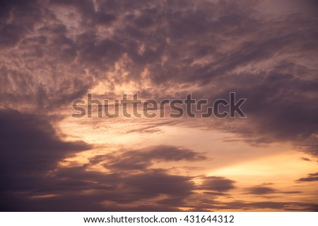 Beautiful sunset sky with cloudscape in summer