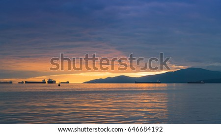 beautiful sunset sky with ocean views,English bay,Vancouver Canada