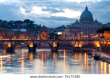 Beautiful sunset view at Vatican, Rome - stock photo