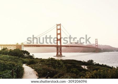 Beautiful sunset view on Golden Gate bridge in San Francisco, California, USA - stock photo
