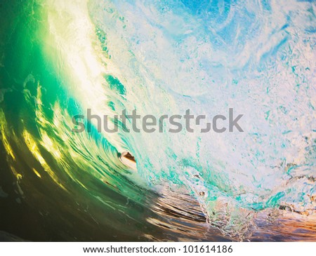 Beautiful Sunset Wave - stock photo