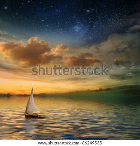 beautiful sunset with a sailboat