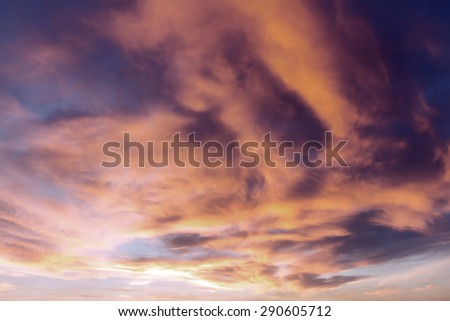 Beautiful Sunset with Stormy Clouds - stock photo
