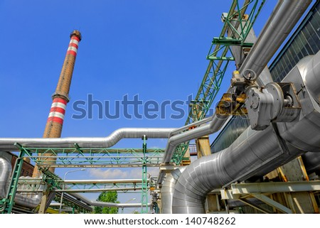 Beautiful sunshine with a thermal power plant - stock photo