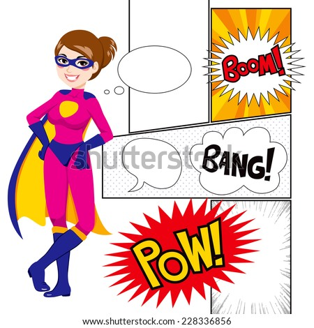 Beautiful super hero woman with comics panels and speech balloons - stock photo